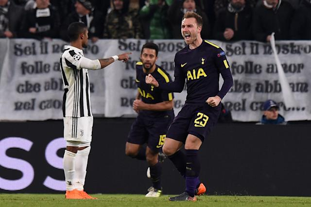 "<a class=""link rapid-noclick-resp"" href=""/soccer/players/christian-eriksen/"" data-ylk=""slk:Christian Eriksen"">Christian Eriksen</a> celebrates his equalizer against <a class=""link rapid-noclick-resp"" href=""/soccer/teams/juventus/"" data-ylk=""slk:Juventus"">Juventus</a> in the first leg of Tottenham's Champions League Round of 16 tie. (Getty)"
