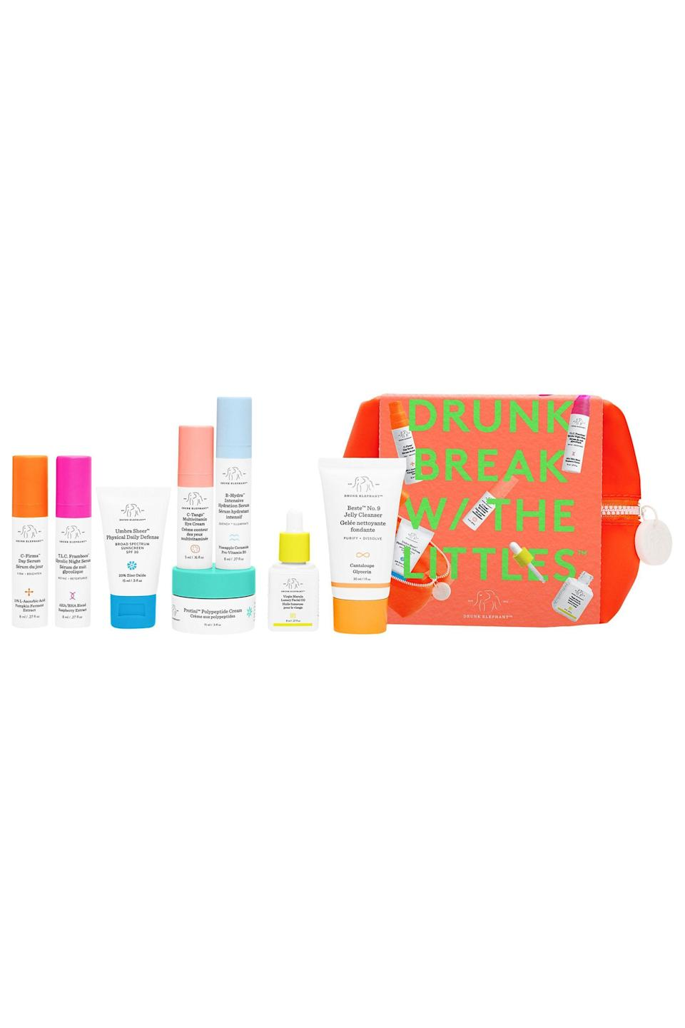 """<p><strong>Drunk Elephant</strong></p><p>sephora.com</p><p><strong>$90.00</strong></p><p><a href=""""https://go.redirectingat.com?id=74968X1596630&url=https%3A%2F%2Fwww.sephora.com%2Fproduct%2Fdrunk-elephant-the-littles-set-P455246&sref=https%3A%2F%2Fwww.elle.com%2Fbeauty%2Fmakeup-skin-care%2Fg33433197%2Fbest-skin-care-sets%2F"""" rel=""""nofollow noopener"""" target=""""_blank"""" data-ylk=""""slk:Shop Now"""" class=""""link rapid-noclick-resp"""">Shop Now</a></p><p>Everything you need to tackle all of your skin concerns can be found in this chic orange pouch. Drunk Elephant does all the work for you by labeling some of the products for your AM and PM routines and leaves the rest up to you and your skin.</p>"""