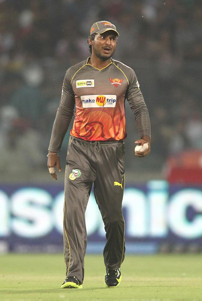 Sunrisers Hyderabad captain Kumar Sangakkara during match 14 of the Pepsi Indian Premier League between The Delhi Daredevils and the Sunrisers Hyderabad held at the Feroz Shah Kotla Stadium, Delhi on the 12th April 2013..Photo by Shaun Roy-IPL-SPORTZPICS ..Use of this image is subject to the terms and conditions as outlined by the BCCI. These terms can be found by following this link:..https://ec.yimg.com/ec?url=http%3a%2f%2fwww.sportzpics.co.za%2fimage%2fI0000SoRagM2cIEc&t=1495585617&sig=p8m9xg449M0yh7pU52XQIA--~C