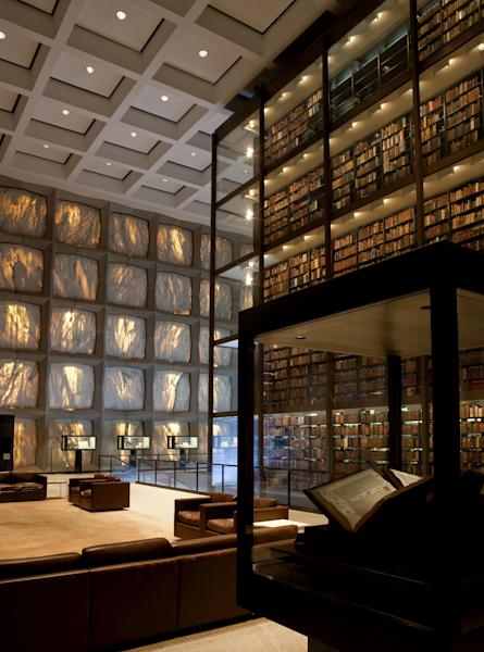 ADVANCE FOR SUNDAY MARCH 3 - This 2012 photo provided by the Beinecke Digital Studio shows the interior of the Beinecke Rare Book & Manuscript Library of Yale University in New Haven, Conn. Yale reports that photos of its famous architecture - like ones of this library which Sina Weibo retweeted - are popular and deserve credit for at least some of the Yale account's rapid growth. (AP Photo/Beinecke Digital Studio, David D. Driscoll)