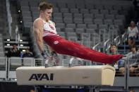 Allan Bower competes on the pommel horse during the U.S. Gymnastics Championships, Saturday, June 5, 2021, in Fort Worth, Texas. (AP Photo/Tony Gutierrez)