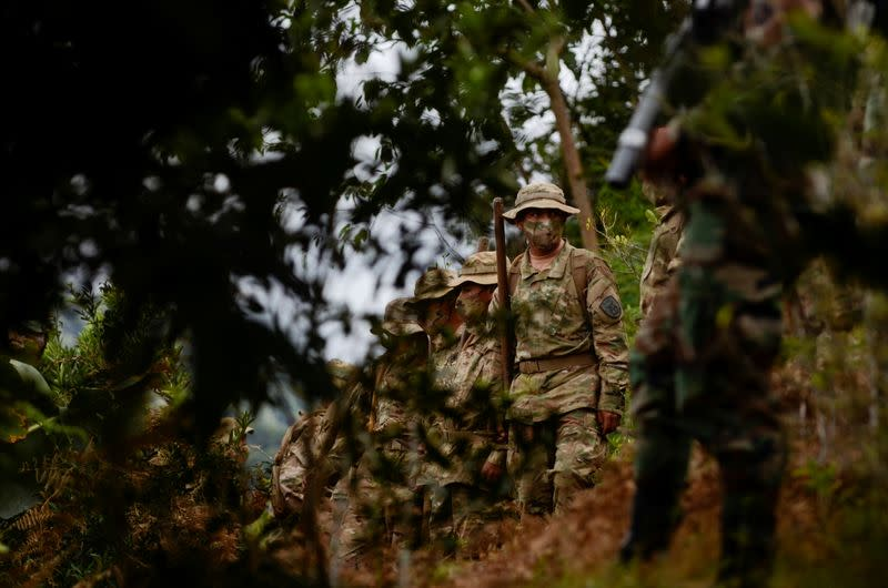 Bolivian soldiers gather to destroy illegal coca plants during an eradication program, in Los Yungas