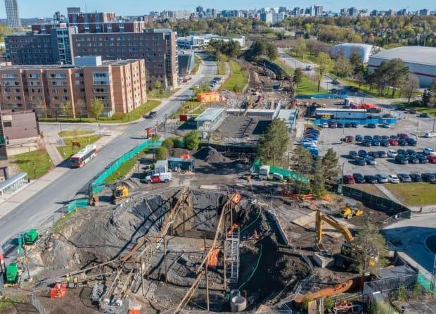 Ottawa's Trillium Line has been closed since May 2020 and is currently due to reopen in time for students to return to class in September 2022. Carleton station, now under construction, is seen here.  (City of Ottawa - image credit)