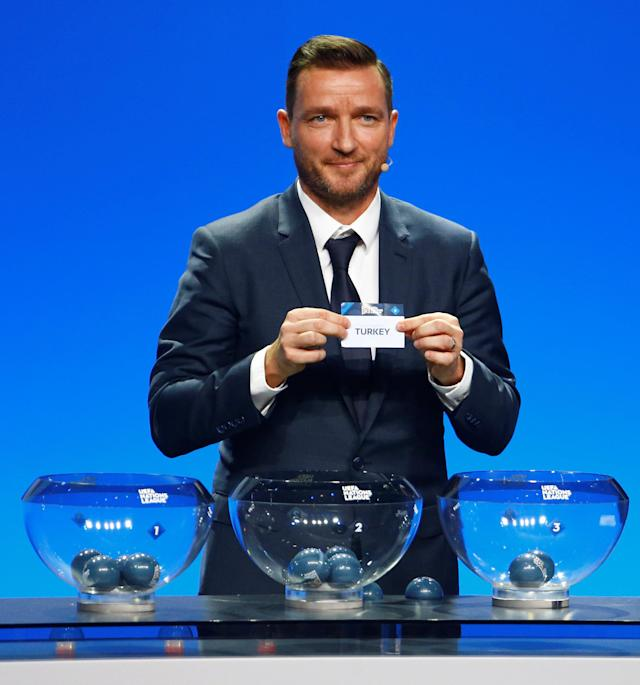 Soccer Football - UEFA Nations League Group Draw - Lausanne, Switzerland - January 24, 2018 Vladimir Smicer draws Turkey in group 2, league B REUTERS/Pierre Albouy