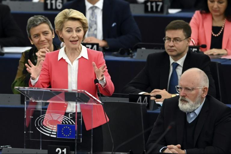 Von der Leyen urged lawmakers to approve her 27-strong commission so that she can get to work on December 1 (AFP Photo/FREDERICK FLORIN)