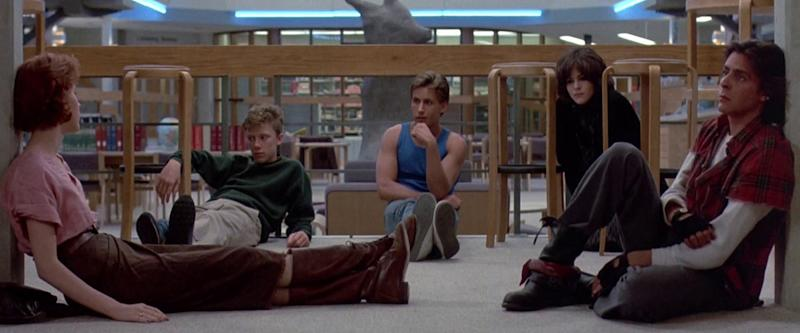 'The Breakfast Club' feeling low as they get high in the 80s classic. (Credit: A&M Films)