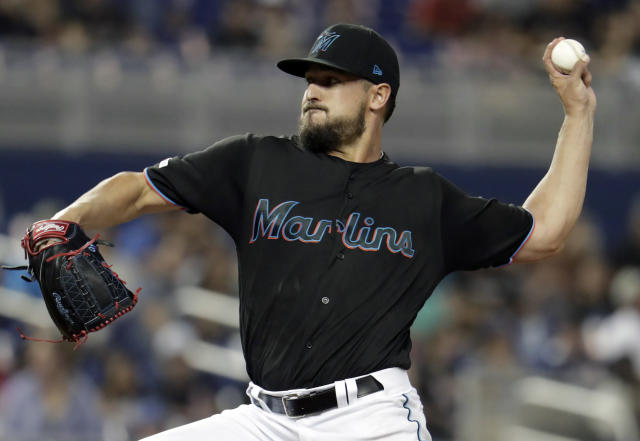 Miami Marlins starting pitcher Caleb Smith delivers a pitch during the first inning of a baseball game against the Washington Nationals, Friday, April 19, 2019, in Miami. (AP Photo/Lynne Sladky)