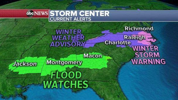 PHOTO: This morning, heavy rain is falling from Texas to Georgia as flood warnings continue on dozens of rivers and bayous in the South. (ABC News)