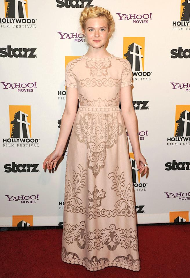 """<a href=""""http://movies.yahoo.com/movie/contributor/1808461888"""">Elle Fanning</a> at the 15th Annual Hollywood Film Awards in Beverly Hills, California on October 24, 2011."""