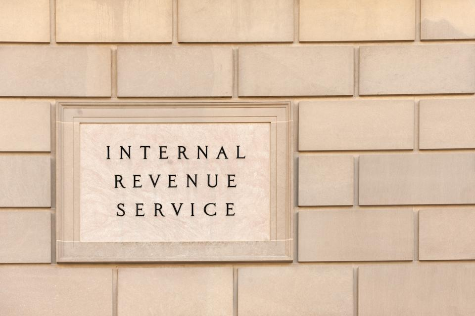 Sign on IRS headquarter building in downtown Washington, DC