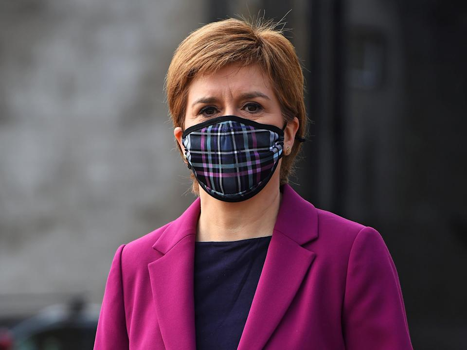 <p>Sturgeon campaigning in South Queensferry today</p> (Getty)