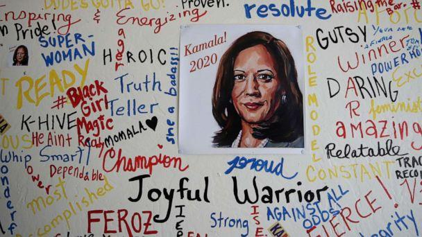 PHOTO: A picture of Sen. Kamala Harris is displayed on a wall inside of her Oakland, Calif., campaign office on Dec. 03, 2019. (Justin Sullivan/Getty Images)