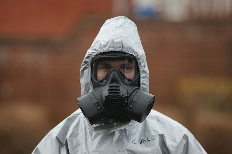 "Novichok -- or ""newcomer"" in English -- refers to a group of powerful and deadly chemical compounds reportedly developed by the Soviet government in the 1970s and 1980s, some of which were adopted by the Soviet army in 1990 (AFP Photo/Daniel LEAL-OLIVAS)"