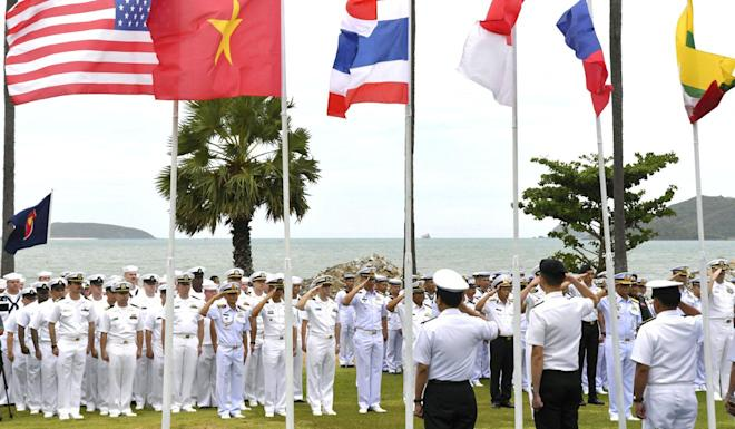 The joint naval exercise between the US and Asean gets under way at the Sattahip naval base in Thailand. Photo: Kyodo