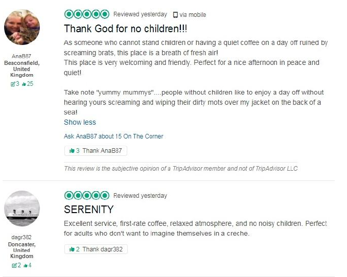 Many were happy about the ban and defended the cafe. Photo: TripAdviser