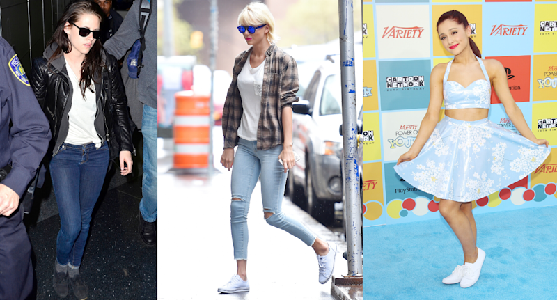 Kristen Stewart, Taylor Swift and Ariana Grande seen wearing the Keds Champion sneakers. (Getty Images)