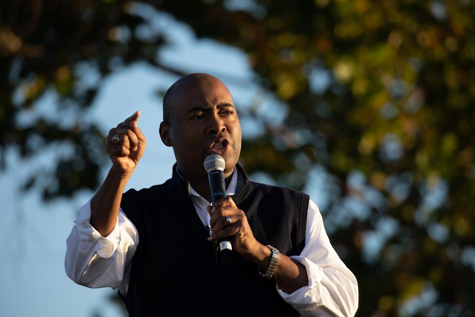 Democratic candidate for Senate Jaime Harrison addresses supporters during a socially distanced drive-in rally held at The Bend in North Charleston, South Carolina on October 17, 2020. (Logan Cyrus/AFP via Getty Images)