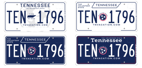 Tennessee law requires the issuing of a new license plate design at least every eight years, but the design introduced by Gov. Phil Bredesen was essentially unchanged by Gov. Bill Haslam.  This year, residents have the option to rate four designs, all of which are a major departure from the light green and white design that has dominated this side of the millennium.