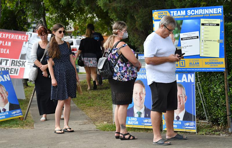 Voters are seen at the Virginia pre-polling booth for the Brisbane City Council elections in Brisbane. Source: AAP