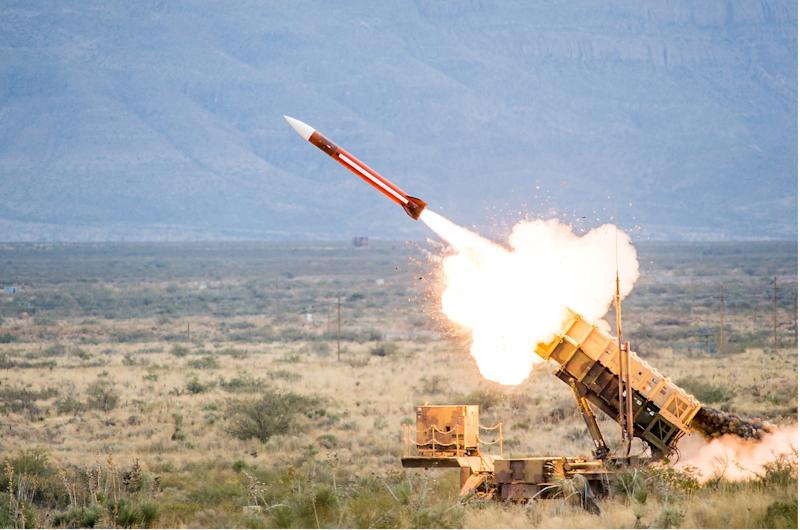 A Patriot missile battery launches.