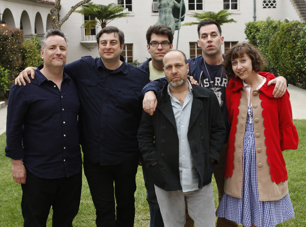 "Cast members Larry Murphy, Eugene Mirman, Dan Mintz, H. Jon Benjamin, John Roberts and Kristen Schaal attend ""Bob's Burgers Live!"" at the WIlshire Ebell Theatre on Tuesday, May 7 in Los Angeles, CA."
