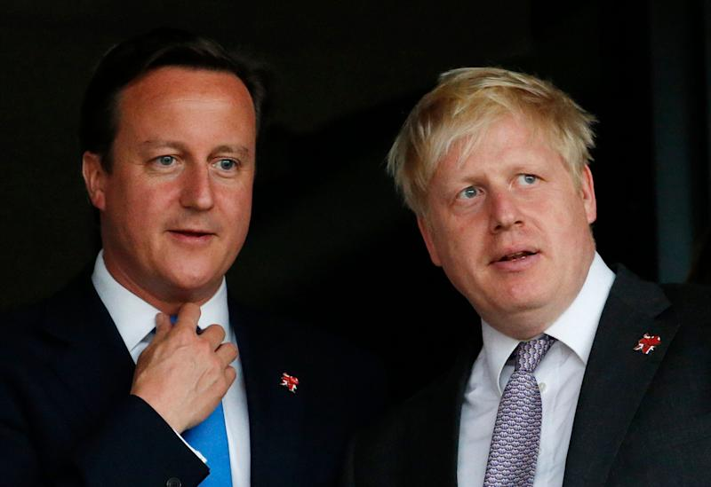 Then-British Prime Minister David Cameron and Boris Johnson, then the mayor of London, pictured in July 2012. (Photo: ASSOCIATED PRESS)