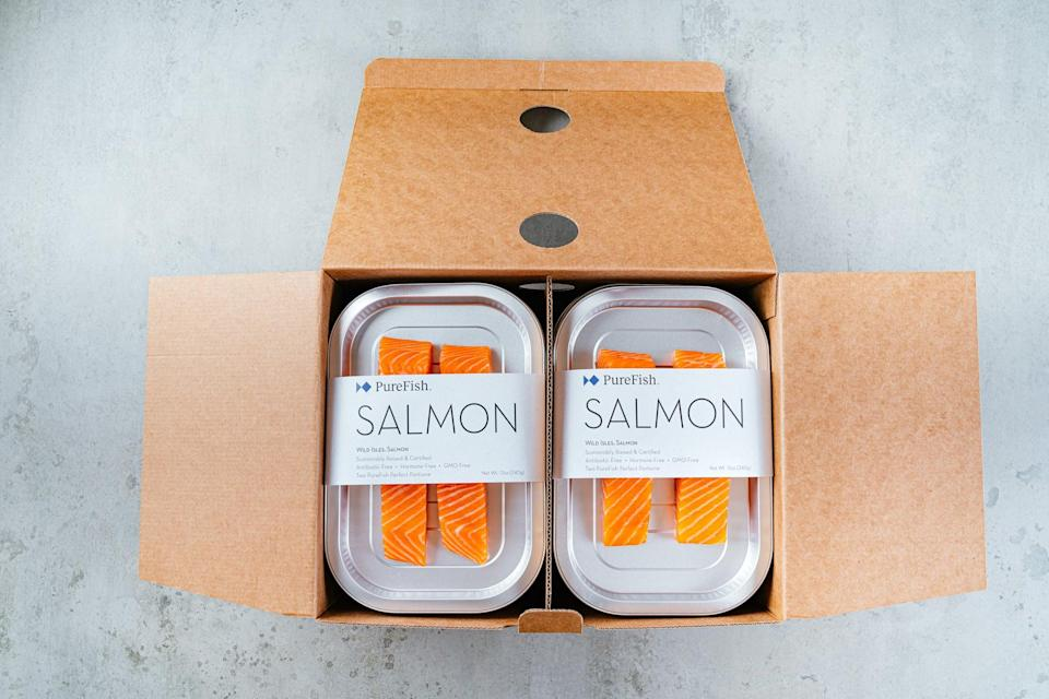 """<p>""""When PureFish offered to send me a sample box of their fine-dining quality seafood, I was so excited (and then well-fed for the next few days.) Each <span>PureFish box</span> ($250) contains a collection of different fish that are carefully curated in ready to cook trays. The salmon was the best fish I've had in ages and it was such a treat to have restaurant quality fish at home."""" - Genevieve Farrell, Fitness &amp; Wellness Director, Video</p>"""