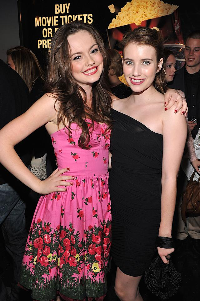 """<a href=""""http://movies.yahoo.com/movie/contributor/1810162871"""">Emily Meade</a> and <a href=""""http://movies.yahoo.com/movie/contributor/1804508466"""">Emma Roberts</a> at the New York City premiere of <a href=""""http://movies.yahoo.com/movie/1810022027/info"""">My Soul to Take</a> on October 06, 2010."""