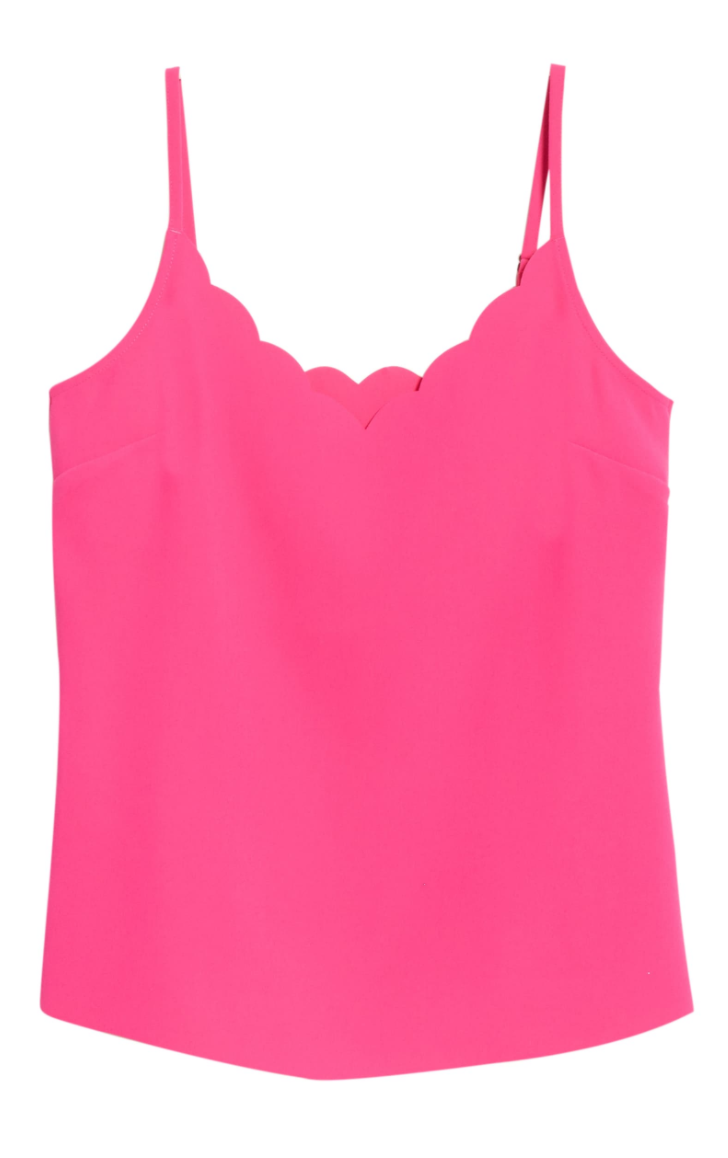 Ted Baker London Siina Scallop Neckline Camisole in Bright Pink