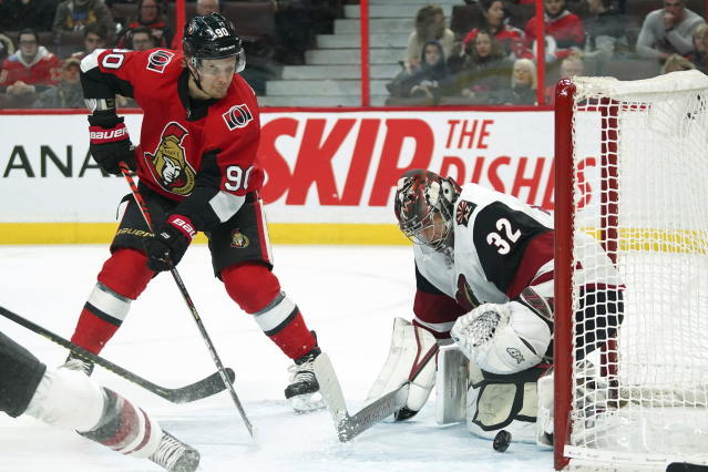 OttawaSenators left wing Vladislav Namestnikov (90) shoots against Arizona Coyotes goaltender Antti Raanta (32) during second-period NHL hockey game action in Ottawa, Ontario, Thursday, Feb. 13, 2020. (Chris Wattie/The Canadian Press via AP)