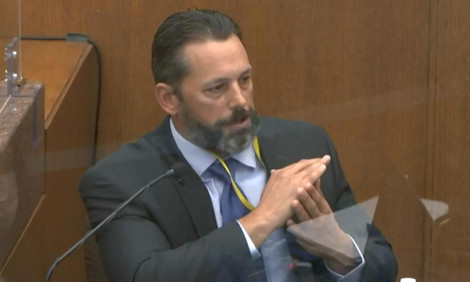 Lt Johnny Mercil, a use-of-force trainer, testifies in the trial of the former Minneapolis police officer Derek Chauvin at the Hennepin county courthouse.
