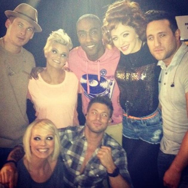 Celebrity Twitpics: ITV's Big Reunion show happened this week, with loads of nineties pop bands reuniting and taking to the stage once more. Here, Atomic Kitten pose with Blue backstage before the gig. Copyright [Natasha Hamilton]