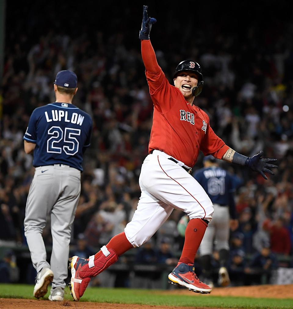 Boston Red Sox catcher Christian Vazquez (7) reacts after hitting a walk-off, two-run home run against the Tampa Bay Rays in the 13th inning of Game 3 of the ALDS.