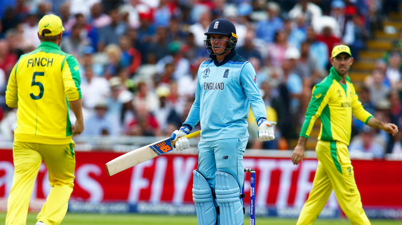 Jason Roy of England not agreeing to the Umpire Decision during ICC Cricket World Cup Semi-Final between England and Australia at the Edgbaston on July 11, 2019 in Birmingham, England. (Photo by Action Foto Sport/NurPhoto via Getty Images)
