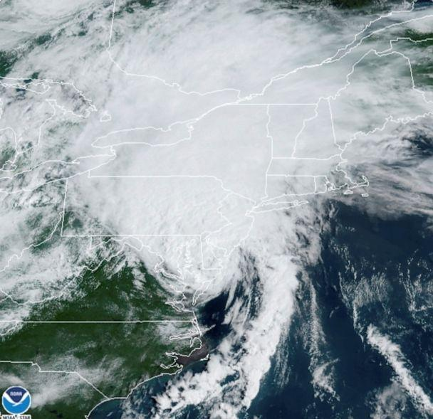 PHOTO: A satellite image shows Tropical Storm Isaias as it progresses over the northeast, Aug. 4, 2020. (Noaa via Reuters)