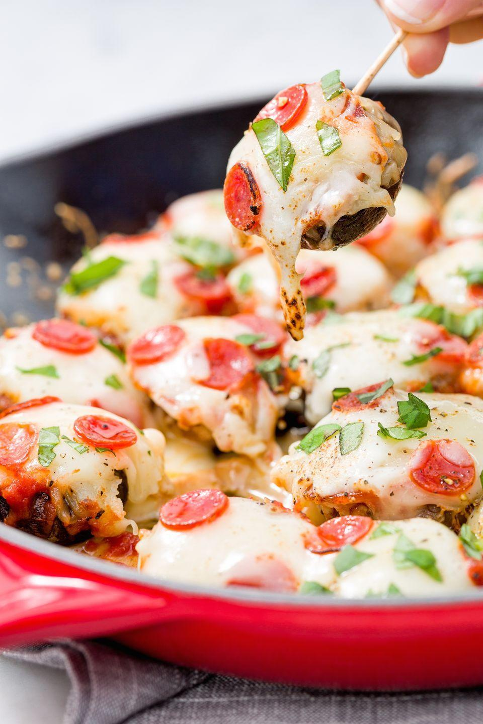 """<p>The appetizer everyone can't stop eating tastes better than ever before.</p><p>Get the recipe from <a href=""""https://www.delish.com/cooking/videos/a44814/pizza-stuffed-mushrooms/"""" rel=""""nofollow noopener"""" target=""""_blank"""" data-ylk=""""slk:Delish"""" class=""""link rapid-noclick-resp"""">Delish</a>.</p>"""