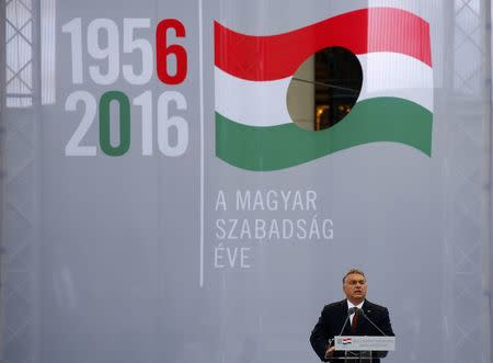 Hungarian Prime Minister Viktor Orban speaks during a ceremony marking the 60th anniversary of 1956 anti-Communist uprising in Budapest, Hungary, October 23, 2016. REUTERS/Laszlo Balogh