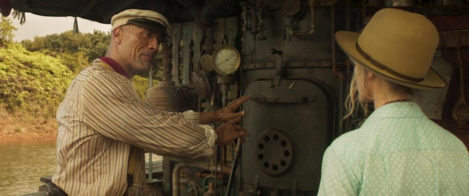 """Dwayne Johnson as Frank Wolff and Emily Blunt as Lily Houghton in """"Jungle Cruise"""" - Credit: Disney"""