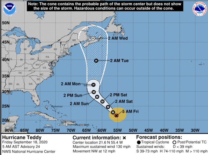 Hurricane Teddy, a powerful Category 4 storm, is moving toward the northwest near 12 mph and has maximum sustained winds near 130 mph with higher gusts, according to the hurricane center.