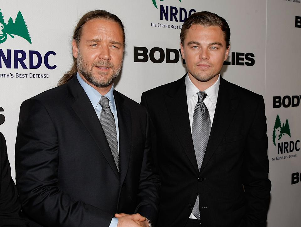 """NEW YORK - OCTOBER 05: Actors Russell Crowe and Leonardo DiCaprio attend the premiere of """"Body of Lies"""" at the Frederick P. Rose Theater on October 5, 2008 in New York City.  (Photo by Jemal Countess/WireImage)"""