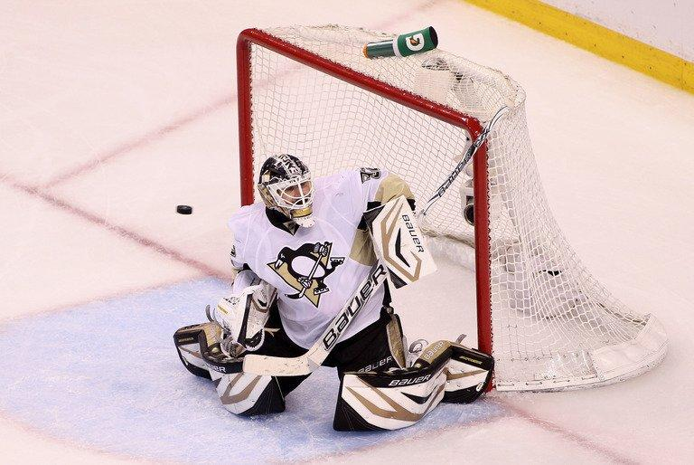 Tomas Vokoun of the Pittsburgh Penguins tries to make a save against the Boston Bruins on June 7, 2013
