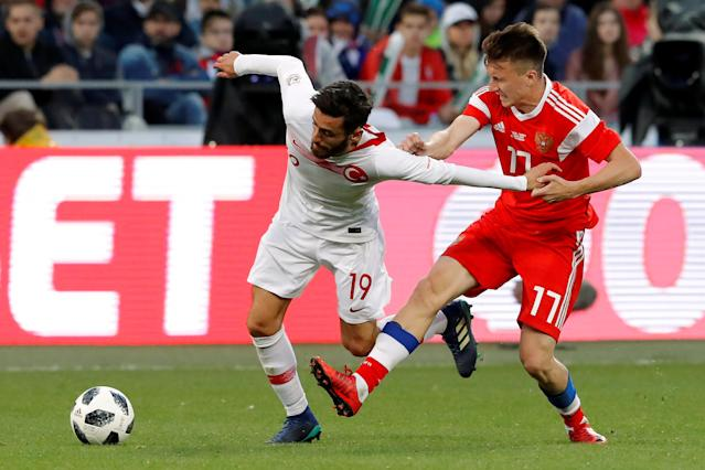 Soccer Football - International Friendly - Russia vs Turkey - VEB Arena, Moscow, Russia - June 5, 2018 Russia's Aleksandr Golovin in action with Turkey's Yunus Malli REUTERS/Sergei Karpukhin
