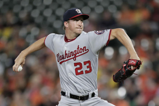 Washington Nationals starting pitcher Erick Fedde delivers to a Baltimore Orioles batter during the first inning of a baseball game, Wednesday, July 17, 2019, in Baltimore. (AP Photo/Julio Cortez)
