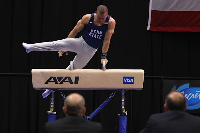 ST. LOUIS, MO - JUNE 9: Miguel Peneda competes on the pummel horse during the Senior Men's competition on Day Three of the Visa Championships at Chaifetz Arena on June 9, 2012 in St. Louis, Missouri. (Photo by Dilip Vishwanat/Getty Images)