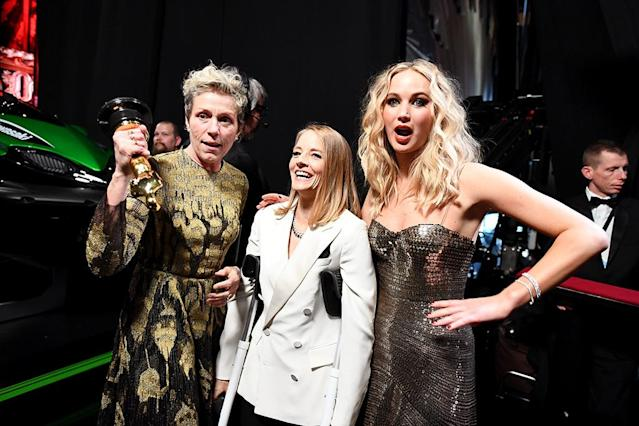 <p>Tallk about star power! Frances McDormand, left, winner for Best Actress for her role in <em>Three Billboards Outside Ebbing, Missouri</em>, posed backstage with Foster and Lawrence, who were on hand to present the coveted award at Sunday night's Oscars. (Photo: Matt Petit/AMPAS via Getty Images) </p>