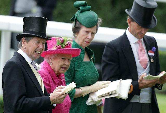 Britain's Queen Elizabeth II enjoyed a memorable success with Estimate in the Ascot Gold Cup in 2013 the most historic race of Royal Ascot week and brought a grin of delight to her face (AFP Photo/Daniel LEAL-OLIVAS)