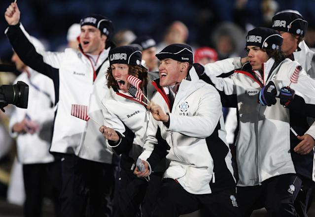 TURIN, ITALY - FEBRUARY 10: Athletes from United States Olympic team enter the Olympic Stadium during the Opening Ceremony of the Turin 2006 Winter Olympic Games on February 10, 2006 in Turin, Italy. (Photo by Brian Bahr/Getty Images)