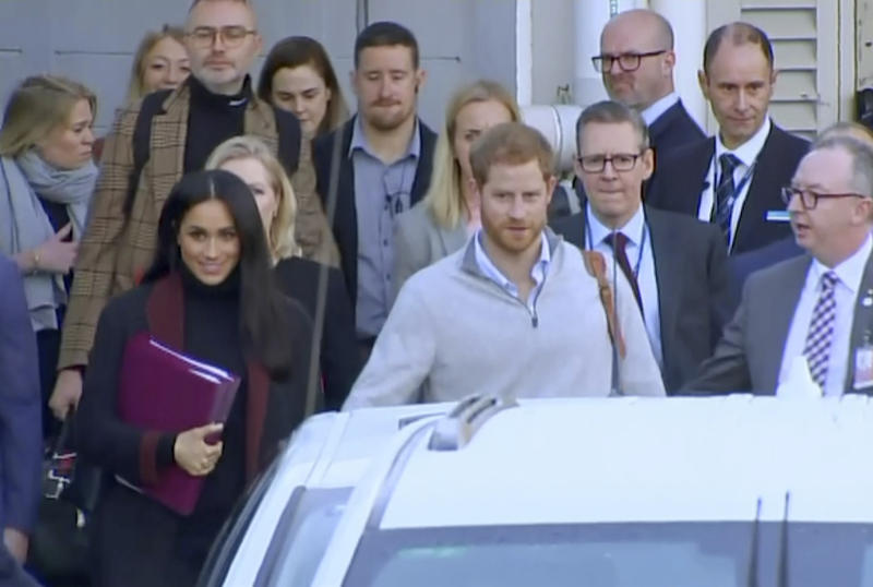 Prince Harry and Meghan Markle meet and greet on Opera House walkabout
