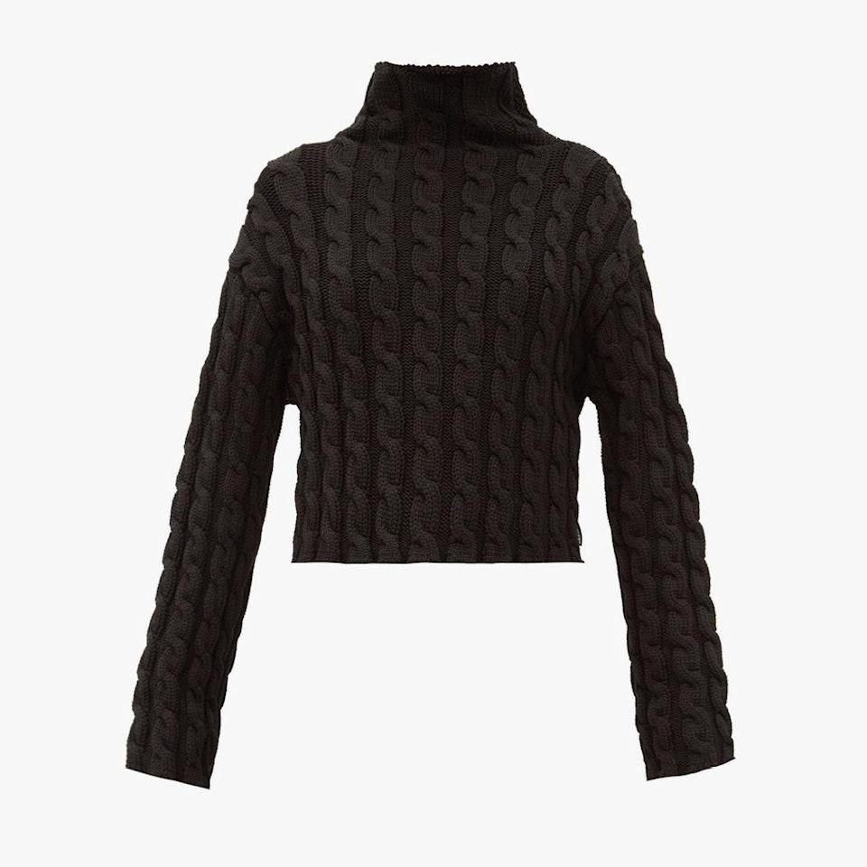 """$1150, MATCHES FASHION. <a href=""""https://www.matchesfashion.com/us/products/Balenciaga-High-neck-cable-knit-sweater-1358095"""" rel=""""nofollow noopener"""" target=""""_blank"""" data-ylk=""""slk:Get it now!"""" class=""""link rapid-noclick-resp"""">Get it now!</a>"""