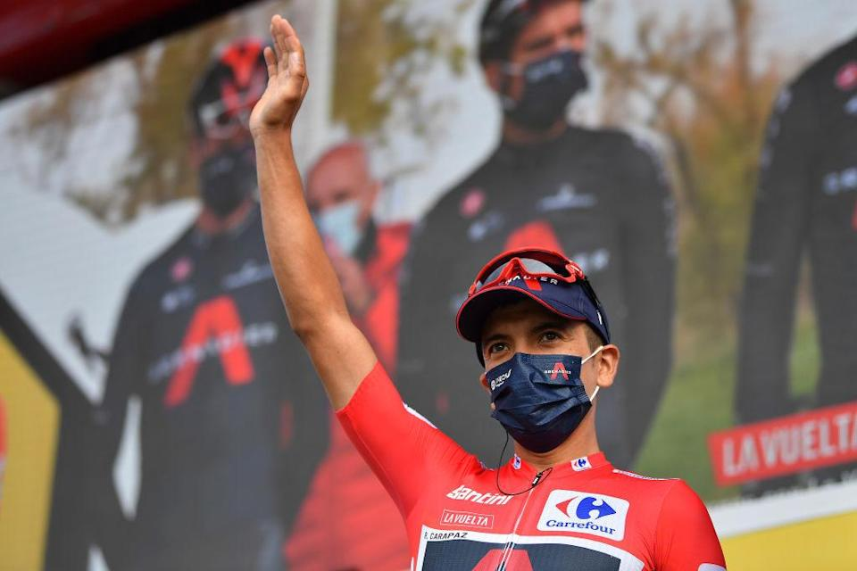 VILLANUEVA DE VALDEGOVIA SPAIN  OCTOBER 27 Start  Richard Carapaz of Ecuador and Team INEOS  Grenadiers Red Leader Jersey  VitoriaGasteiz  Team Presentation  Mask  Covid Safety Measures  during the 75th Tour of Spain 2020 Stage 7 a 1597km from VitoriaGasteiz to Villanueva de Valdegovia  lavuelta  LaVuelta20  La Vuelta  on October 27 2020 in Villanueva de Valdegovia Spain Photo by Justin SetterfieldGetty Images